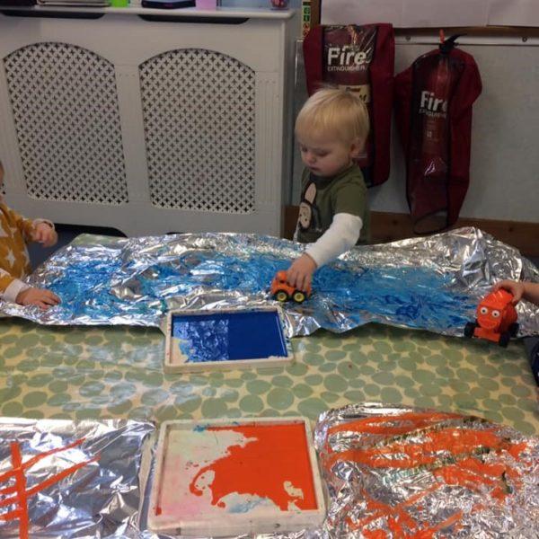 Little Owls Nursery Near Norwich Getting Messy With Paint (2)