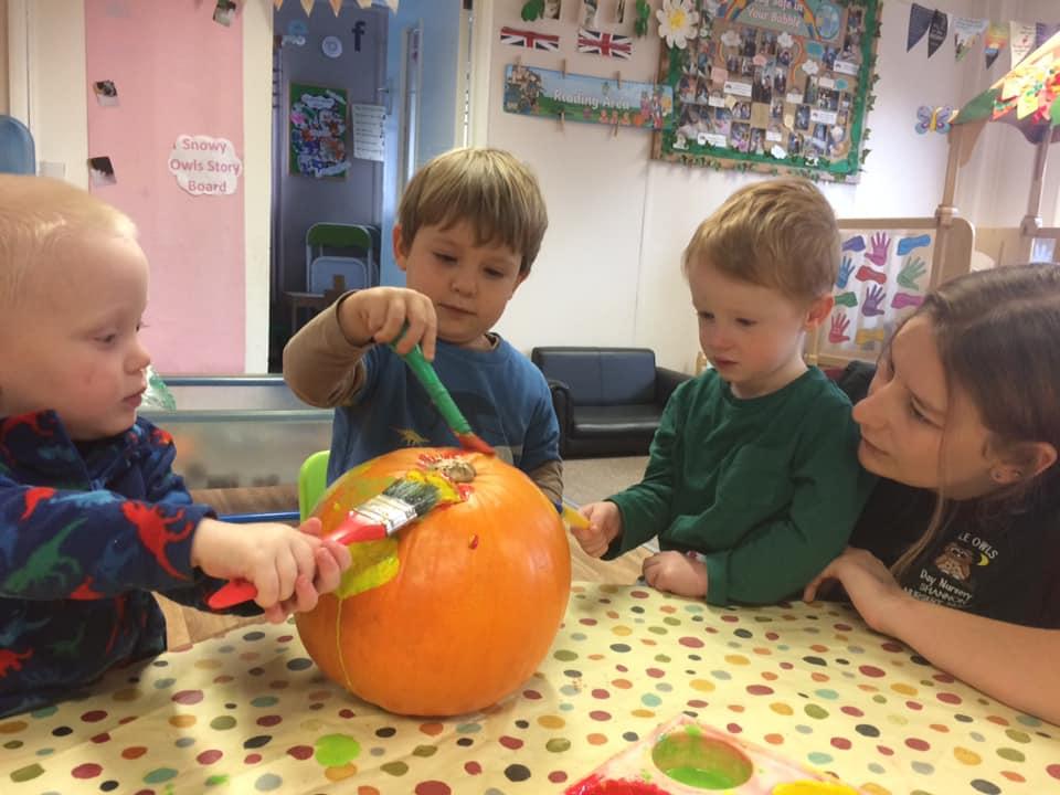 Pumpkin Carving At Little Owls Day Nursery Norfolk